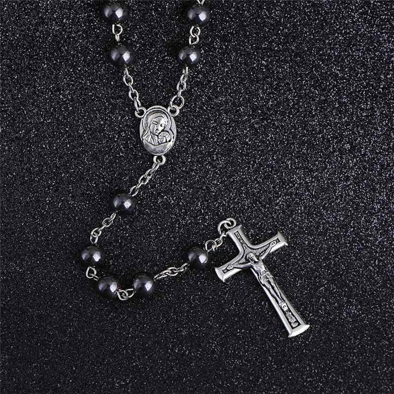 コミ高グレード 8 ミリメートルヘマタイトストーンロザリオビーズのネックレスイエスクロスロングペンダントチャーム祈りカトリックジュエリー R-023