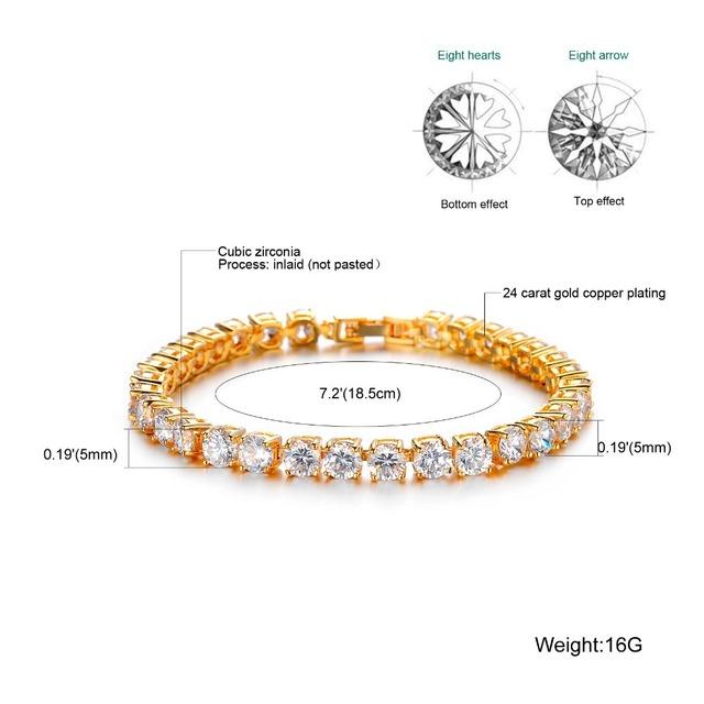 Luxury Wedding Bridal Jewelry Women's Zircon Crystal Bracelet Gold Color Unique Design Tennis Bracelet, DM408