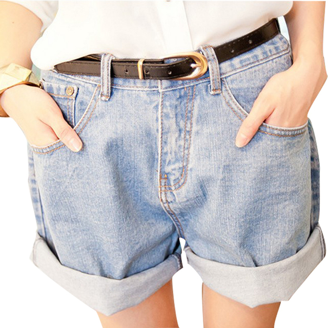 2015 de La Vendimia Mujeres Niñas Jeans Pantalones Cortos de Mezclilla Dobladillo Del Roll-up Suelta Más tamaño de Las Mujeres Pantalones Cortos de Cintura Alta Pantalones Cortos de Mezclilla Vaqueros Lavados de M L XL