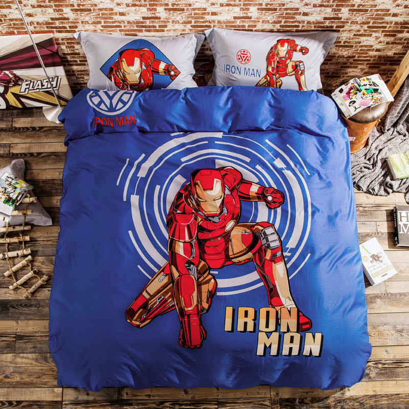 ironman brushed cotton bedding set duvet cover bed sheet pillow cases king queen single size