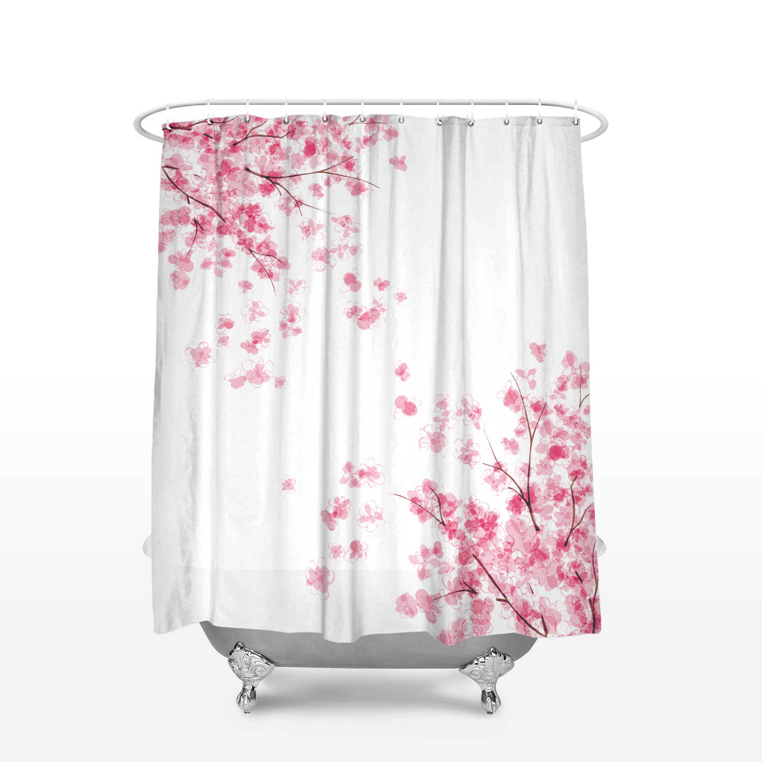 Fabric Shower Curtain Japanese Cherry Sakura Flowers Blossoms Home Decor Bathroom Accessories Waterproof Polyester Bath Curtains