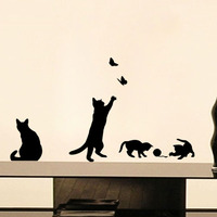 DCTOP Playing Ball Cats Vinyl Wall Stickers For Kids Room Butterflies Adhesive Stickers Home Decor Wall Paper