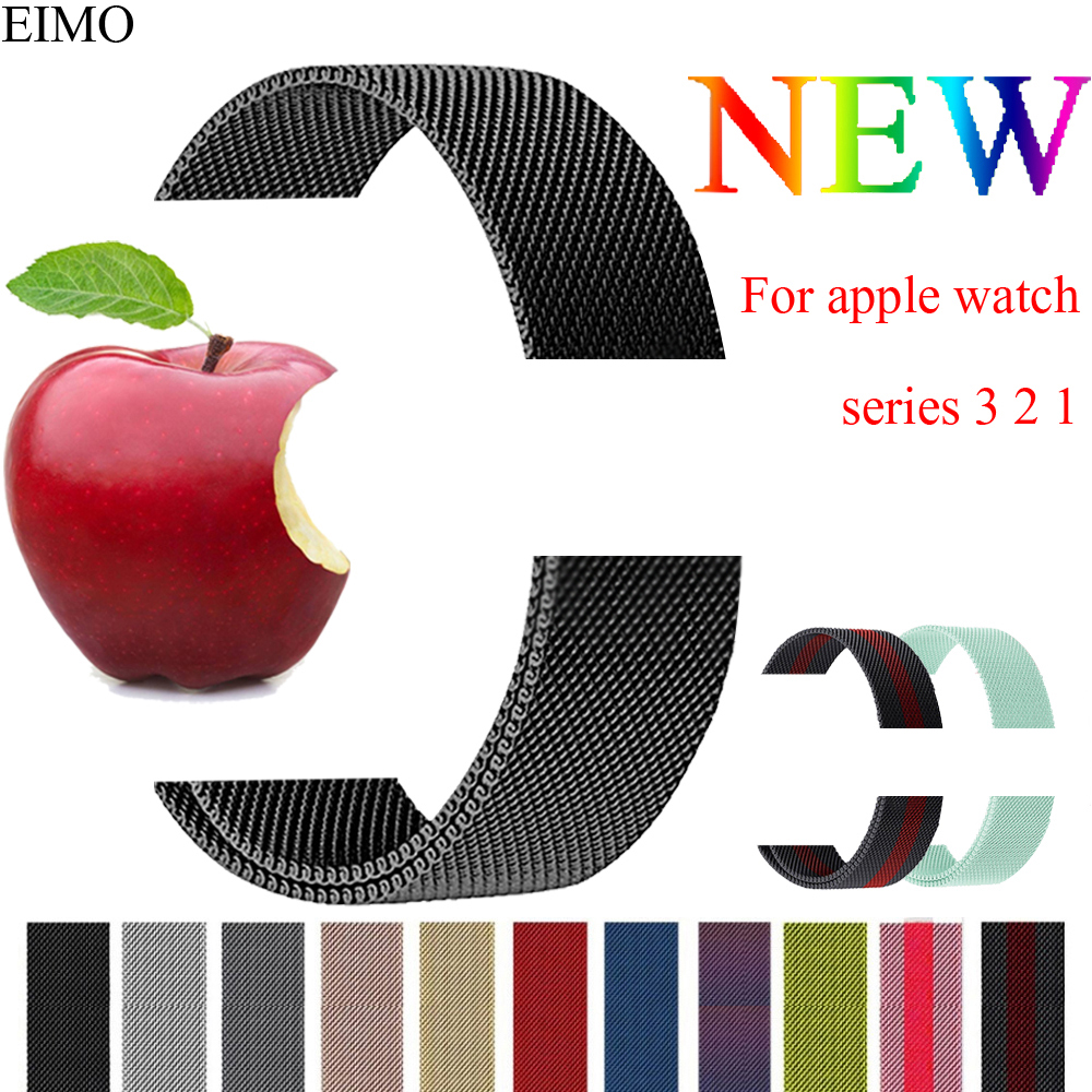 EIMO Space Black Milanese Loop Band Strap For Apple Watch band 42mm/38mm iwatch 4 3 2 1 Stainless Steel Bracelet Watchband Red milanese loop strap for apple watch bands 42mm for iwatch band 38mm stainless steel metal bracelet mesh watchband serise 3 2 1