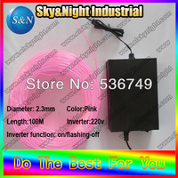 Novetly light glow in the dark(Ten colors) EL wire flexible light colorful light 2.3mm 100M 220 Inverter+free shipping