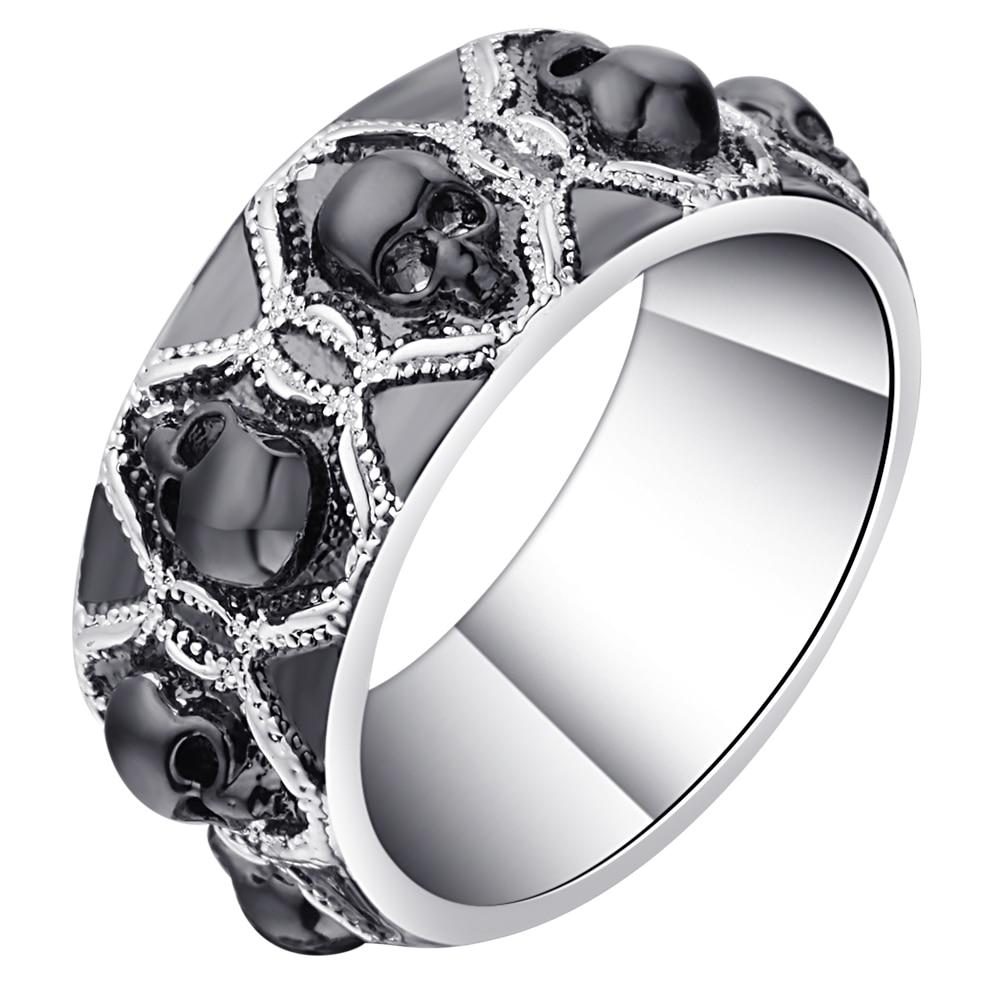 Retro Black Evil Skull Rings For Men Women Silver Color