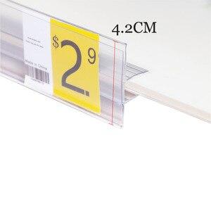 Image 3 - ポップミドルクランプ緑透明棚チケットクリップデータストリップガラス木製クリップ棚価格トーカラベルホルダーチャンネル