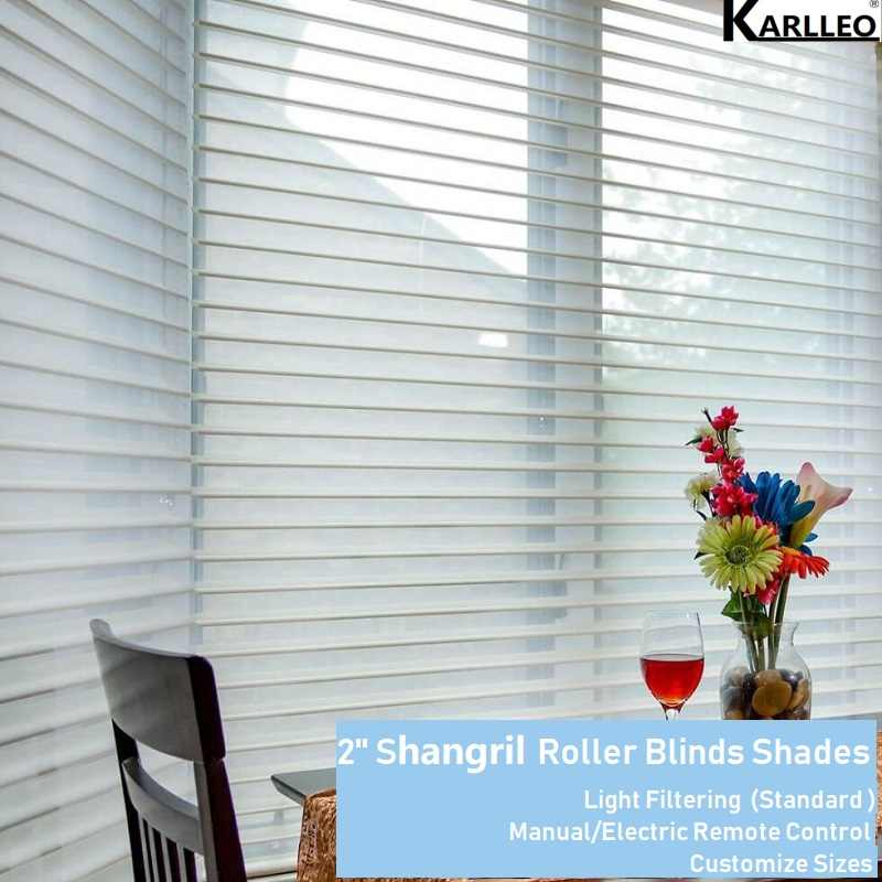 Manual/Electric 2'' Shangrila Roller Blinds Sheer Shades Curtain Customize size