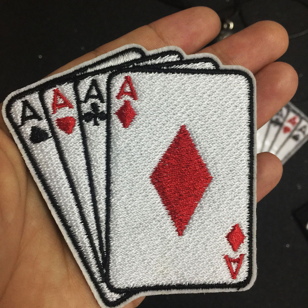 Poker a patch besi pada patch bordir applique pakaian patch stiker pakaian aksesoris jahit label punk biker badge