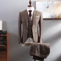 2019 Повседневный Классический портной на заказ твид формальный деловой мужской костюм комплект Блейзер Свадебный Выпускной Slim Fit Куртка бол