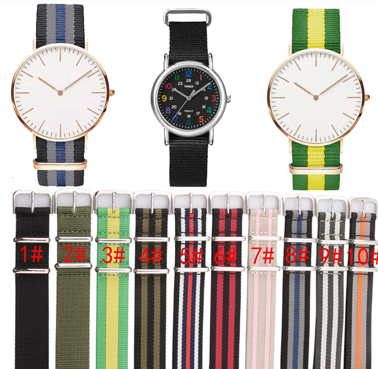 купить 18mm 20mm 22mm 24mm Nato Wristwatch Bands Watch Strap Nylon Sports Military Army Replacement Parts watchband Free Shipping по цене 449.3 рублей
