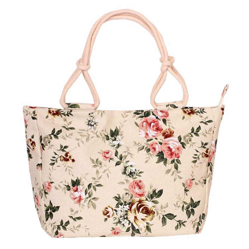 Myvision Ladies Casual Flower Printing Canvas Graffiti Shoulder Bag Fashion Folding Women Big Size Handbag Tote  Beach bag