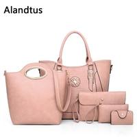Alandtus Set 5 Pcs PU Leather Women Bags Female Handbags Lady Shoulder Bag Crossbody Bags For Women Leather Messenger Bags