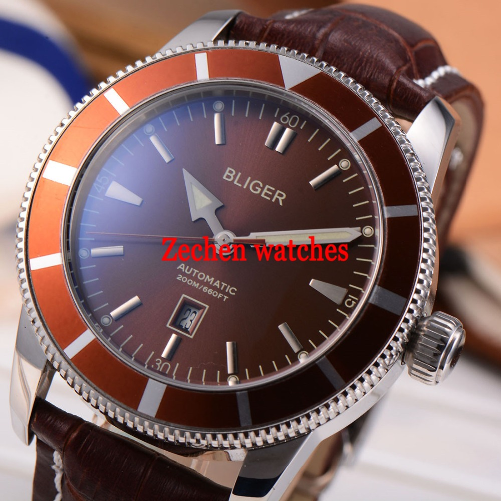 BLIGER 46mm Stainless Steel Case Luminous hands Watch Automatic Mens Wristwatch цена и фото