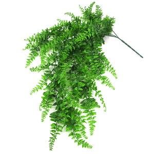 Image 5 - Kunstmatige Plastic Perzische Fern Boom Bladeren Plastic Groene Simulatie Plant Nep Bladeren Rotan Klassieke Home Decoratie
