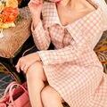 [НОВЫЙ ПРОДАЖА] High-end осенне-Зимней Моды Костюм Юбка женская Аромат Шерстяные Розовый Без Бретелек Плед Пиджак + Юбка Набор