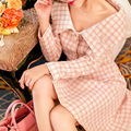 [NEW SALE] High-end Autumn and Winter Fashion Suit Skirt Women's Fragrance Woolen Pink Strapless Plaid Jacket + Skirt Set