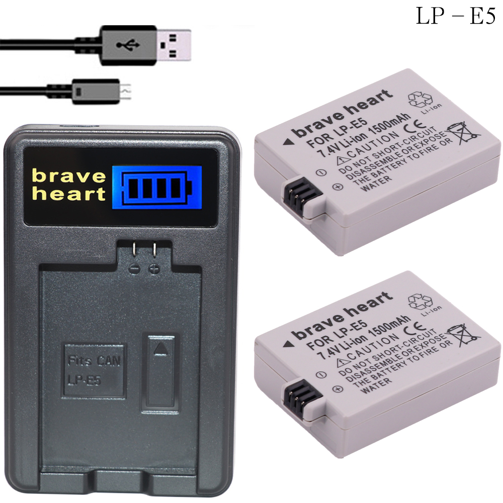 2x1200mah Lp-e5 Battery+usb Charger For Canon 450d 500d 1000d Xs Rebel X Bg-e5 Accessories & Parts Chargers