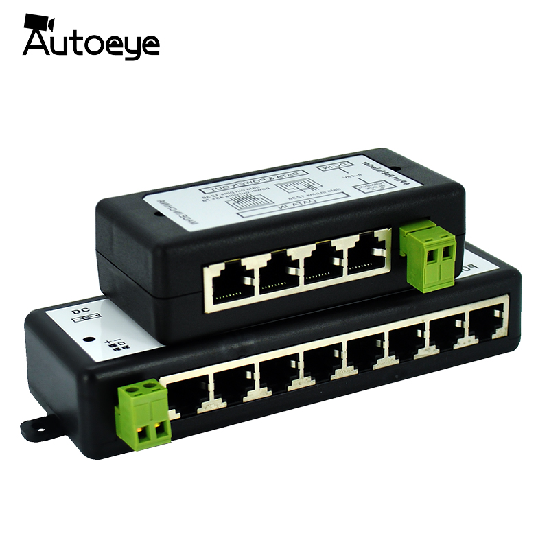 8 Autoeye New Arrival 4 Portas Portas POE Injector POE Splitter para CCTV Câmera de Rede POE Power Over Ethernet IEEE802.3af