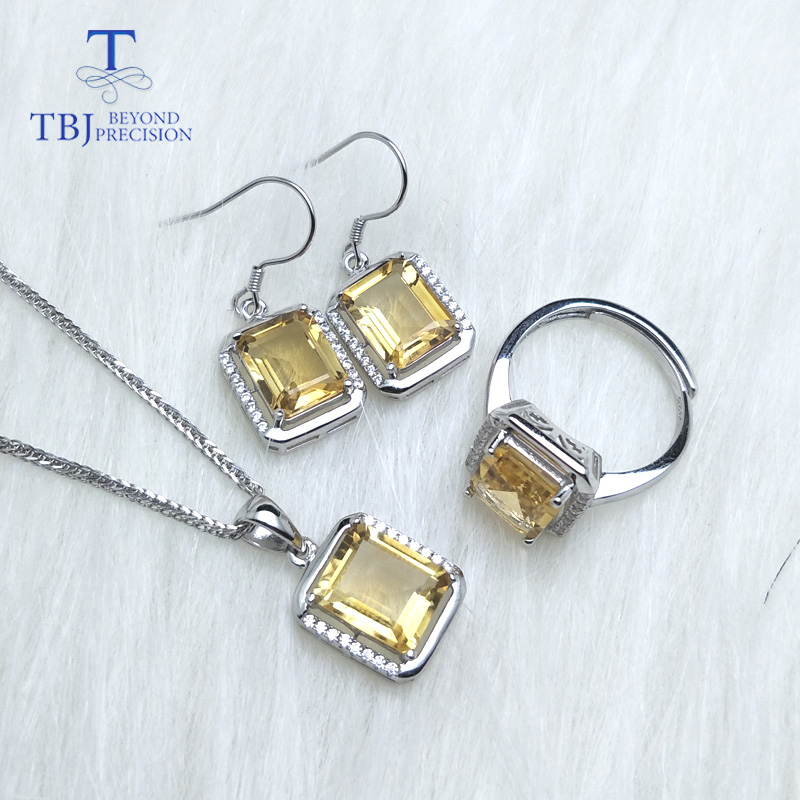 TBJ,925 Sterling Silver Jewelry set oct 8*10mm Brazil citrine set Desgin Necklace Earring Ring sets Women with gift box tbj 2018 new enamel jewelry set pendant earring ring 925 sterling silver fine jewelry with leather chord necklace for women gift