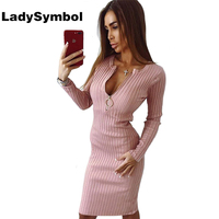 LadySymbol Knitted Cotton Winter Bodycon Dress Women 2017 Long Sleeve Slim Pink Casual Sexy Dress Elegant
