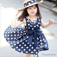 2017 Summer Polka Dot Girls Dress For 2 6y Baby Girls Wave Point Dress Kids Wear