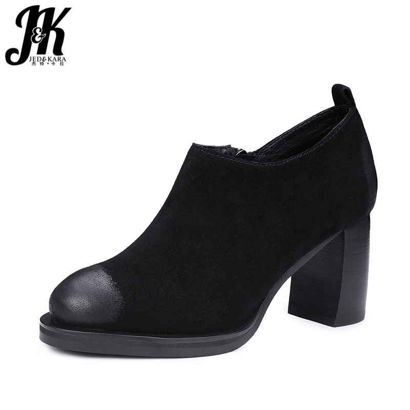 ФОТО J&K 2017 New Style Genuine Leather Women Shoes High Thick Heeled Pumps Vintage Color Patch Round toe Shoes Platform Spring Pumps