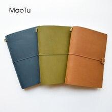 MaoTu Cuaderno de cuero, diario de viaje A5, hecho a mano Bloc de notas, papelería coreana Vintage, libro de notas, regalo, grabe su nombre