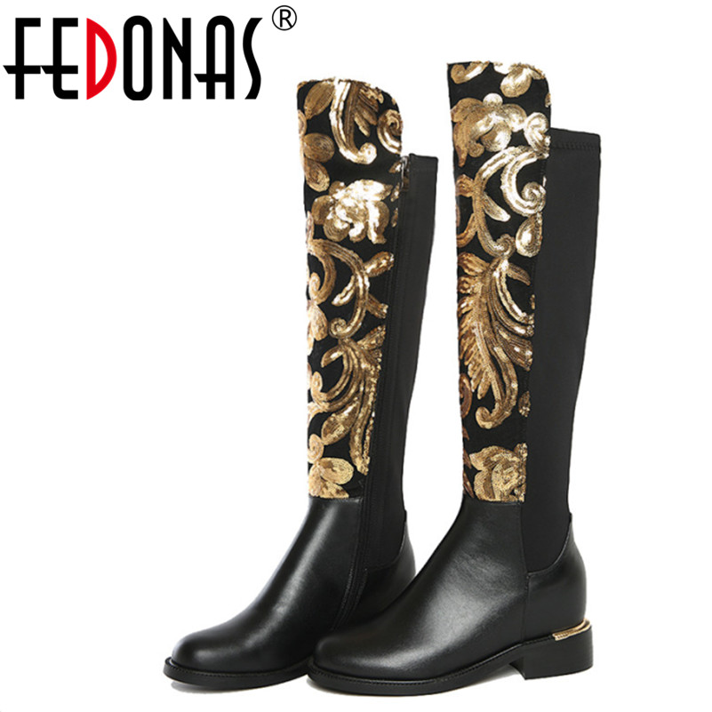 FEDONAS Embroidery Quality Knee High Boots Women Genuine Leather Shoes Woman Knee Winter Boots Comfortable Warm Long Boots