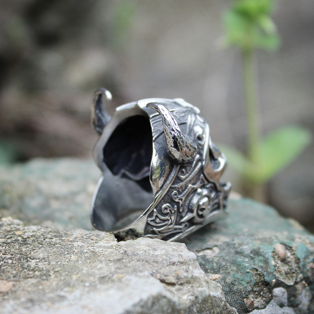 STAINLESS STEEL VIKING WARRIOR SKULL RINGS