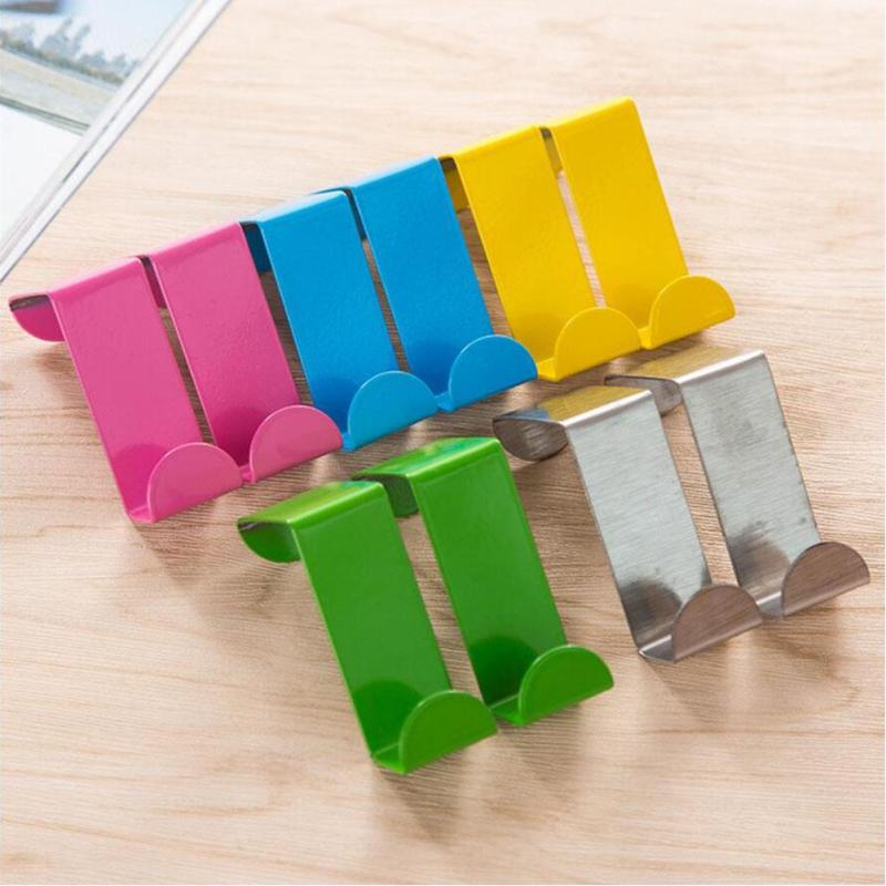 2 pcs Wall Hook Pared Stainless Steel Hanging Door Two-site Clothing Hook home storage organization A2