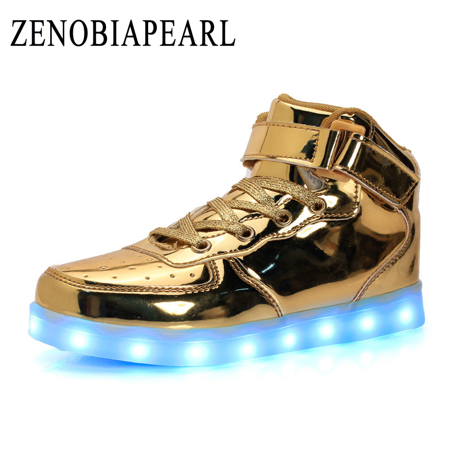 EUR 25-37 Luminous Sneakers USB Charge Led Children Shoes High help Boy Girl Men Women Glowing Tennis Kids Light up Shoes