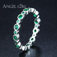 Angel Girl Vintage Wave Blue Green Nano Rings For Women Wholesale Fashion Jewelry Party Cocktail Ring