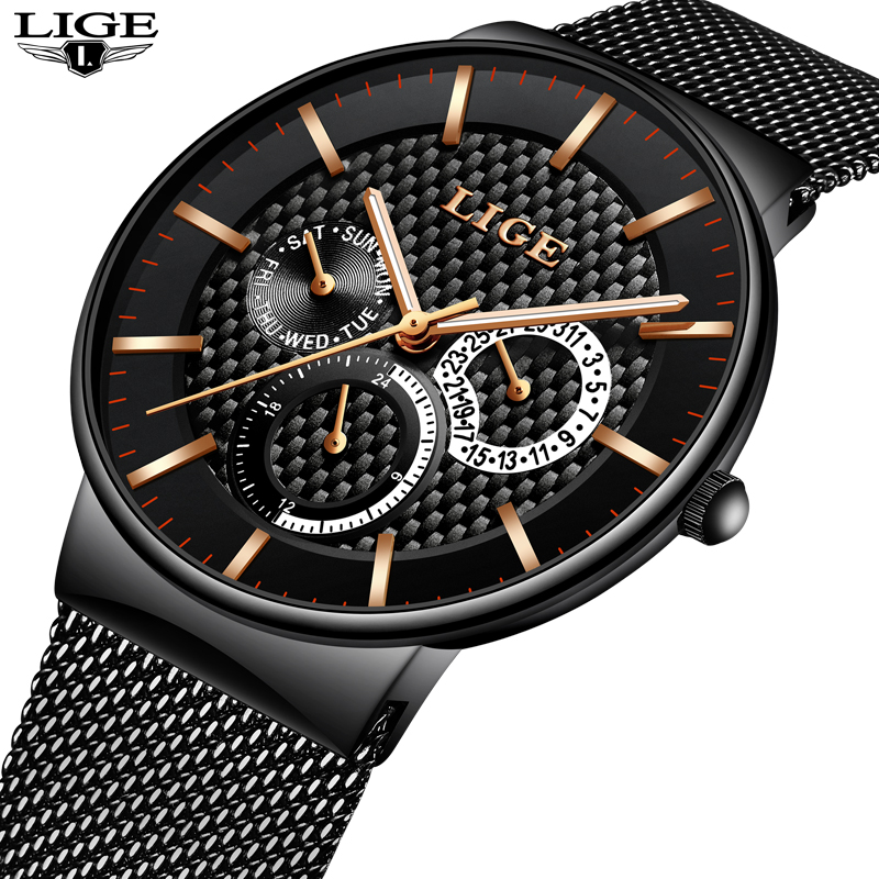 2017 LIGE Men's Sports Quartz Watch Date Simulation Men's Watch Stainless Steel Mesh Watch Waterproof Relogio Men's Watch +box
