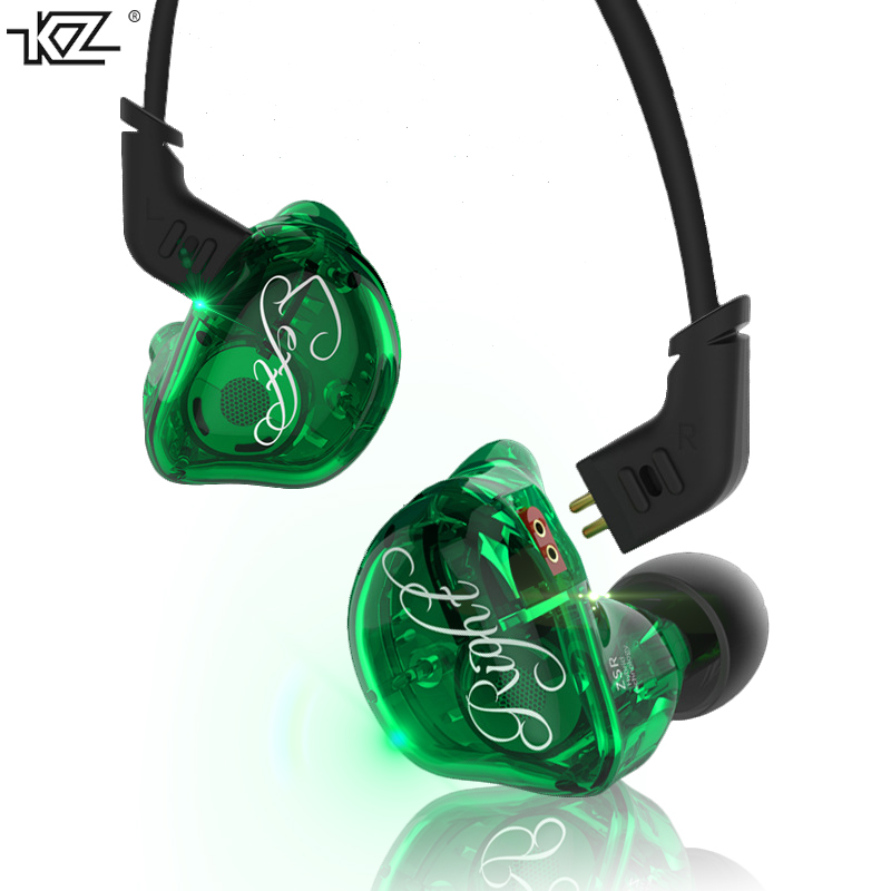 KZ ZSR 6 unit coil earphone HIFI with ear to ear moving iron heavy bass noise Canceller earbuds with Mic Upgradeable cable