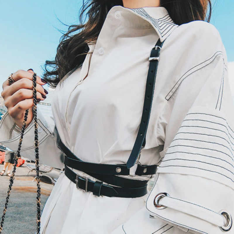 Холтер Сексуальные строгая обвязка клуб для женщин ручной работы грудью черный пояс кожаный костюм Связывание Пояс для чулок