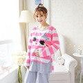 Women Postpartum Confinement Stripe KT Cat Suit Long Sleeved Pajamas Outside Lactation Clothes For Pregnant Women