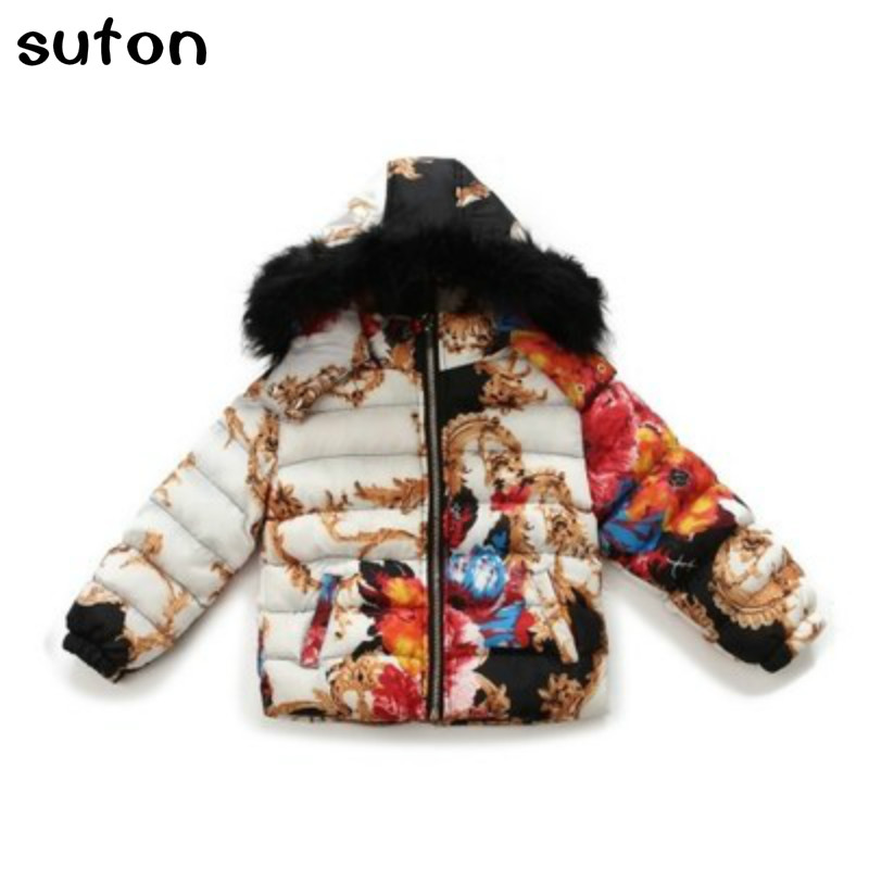 2016 autumn and winter Women's wear Large flower hair collar Hooded Coat Thickening down jacket for children A special offer