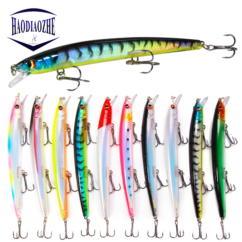 HAODIAOZHE Long Minnow Fishing Lure 15.4g 135mm Wobbler Artificial Hard bait Jerkbait Black Pesca Peche Carp Fish Tackle YU545