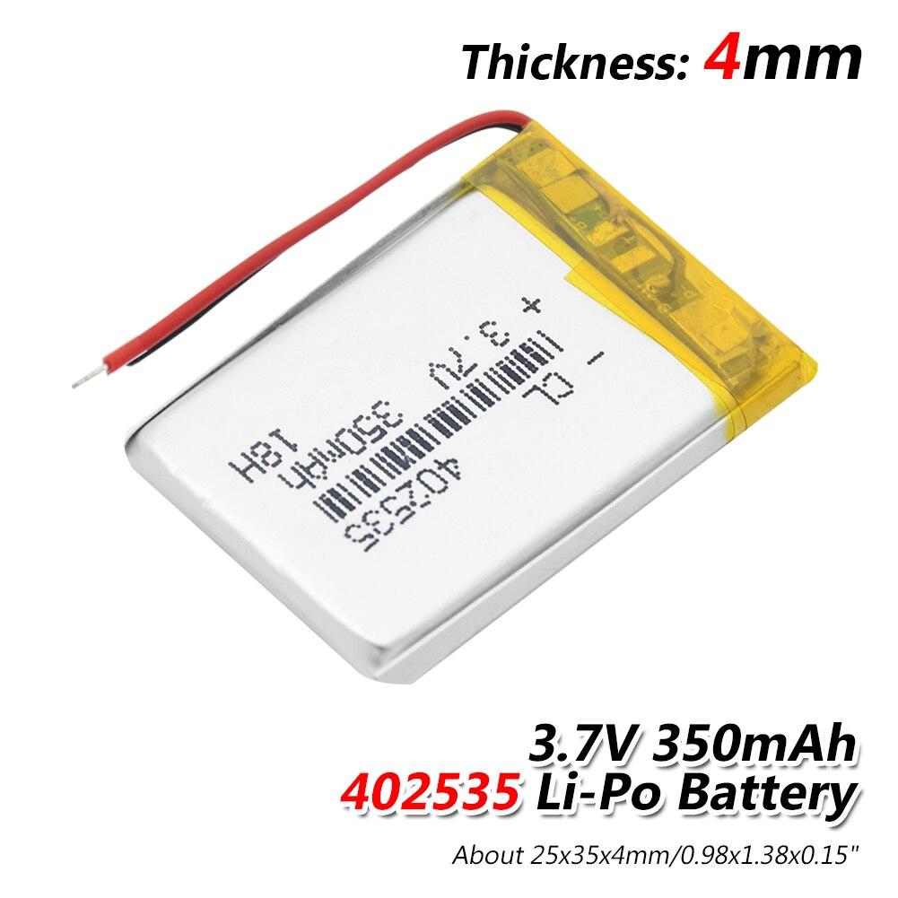Литий-полимерные аккумуляторы 402535 Li-Po, 3,7 В, 350 мАч, с модулем Pcb, литий-ионный аккумулятор 3,7 В, 35x25x4 мм