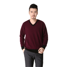 free shipping men's V neck thick pure cashmere knitted pullover sweater -DL026