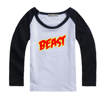 Word Beast Design Printed Kids T-Shirt Girls Boys Gift Tops Red or Black or Blue Sleeve cotton long sleevesAutumn clothes