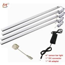 Lámpara led de 50CM con Sensor de movimiento PIR, luz nocturna para debajo del armario, armario, 12V CC, Blanco/blanco cálido