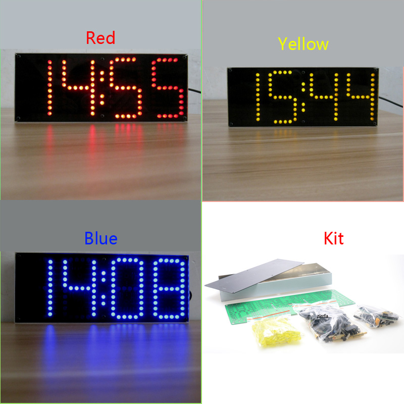 Blue/red/yellow Screen Large Screen Led Clock Electronic DIY Kit Aluminum Cover And Acrylic Case