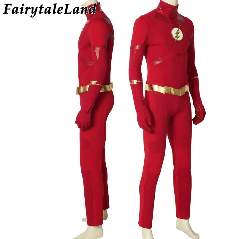 The Flash Season 5 Barry Allen Leather Outfits Uniform Halloween Cosplay Costume