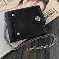 Кожаный кошелек для мальчиков, держатель для карт, кошелек с защитой от потери цепи