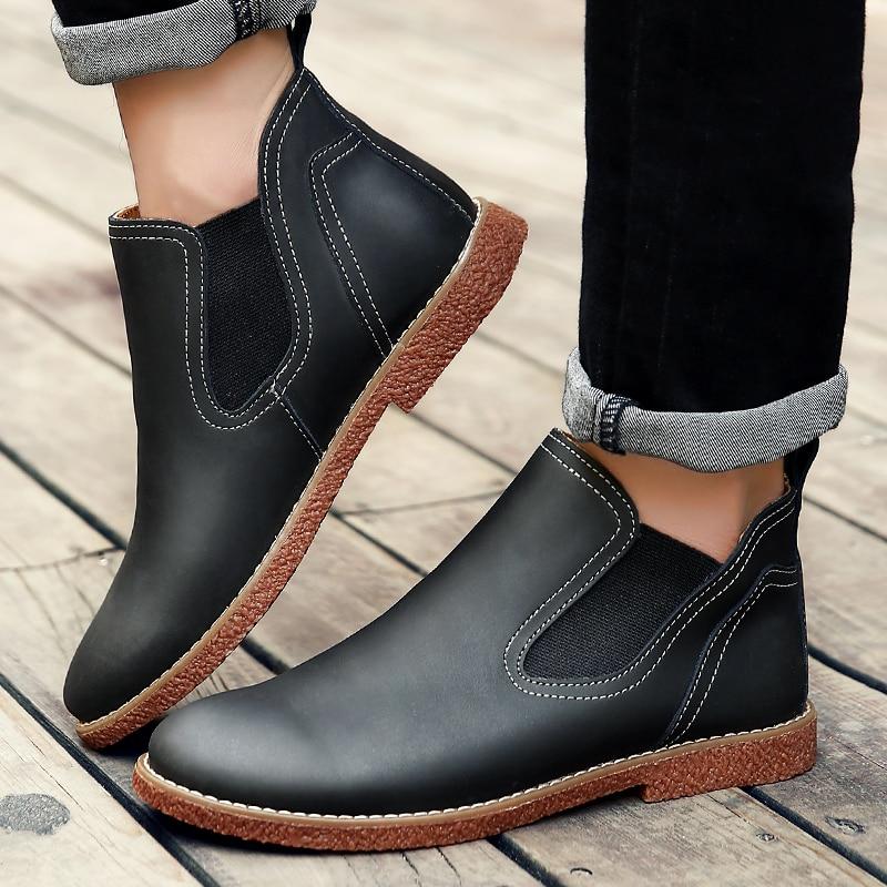 b988f6df13 Hombre Zapatos Moda Chelsea Negro Black Otoño Cuero Hombres Marrón calzado  Casual Zapatos Primavera Los brown ...