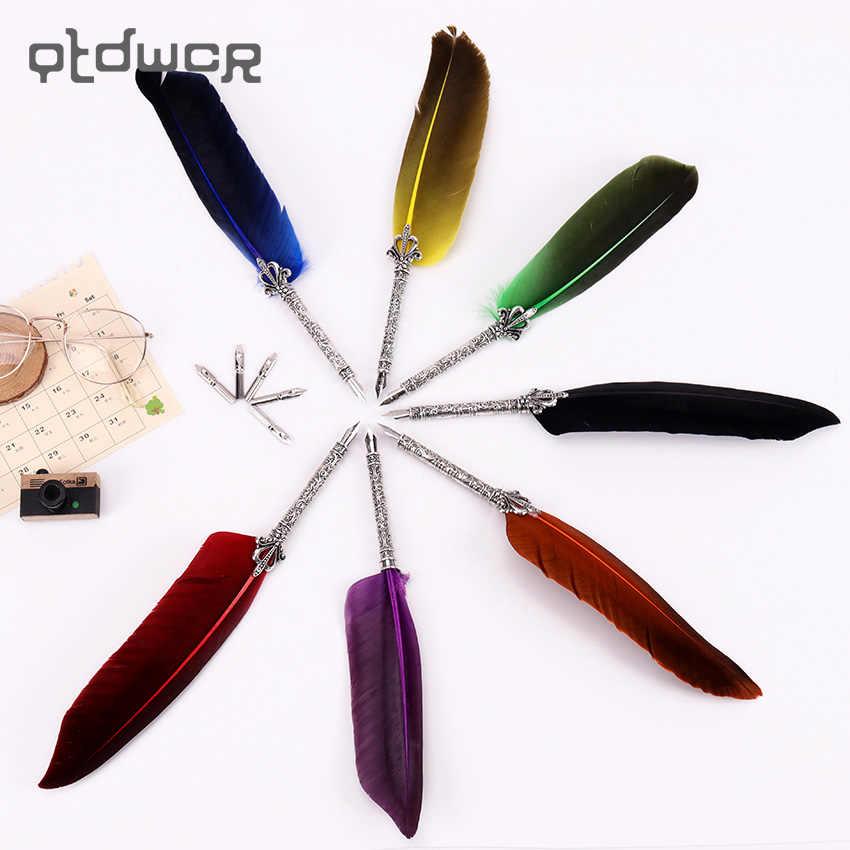 Pluma de Color Vintage Dip pluma papelería regalo 7 colores pluma estilográfica Oficina papelería escuela caligrafía pluma