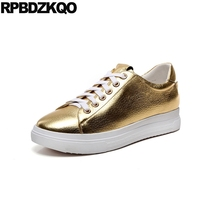 Flats Thick Sole Designer Sneakers Famous Brand Shoes Fashion Lace Up Muffin Elevator Metallic Gold Celebrity