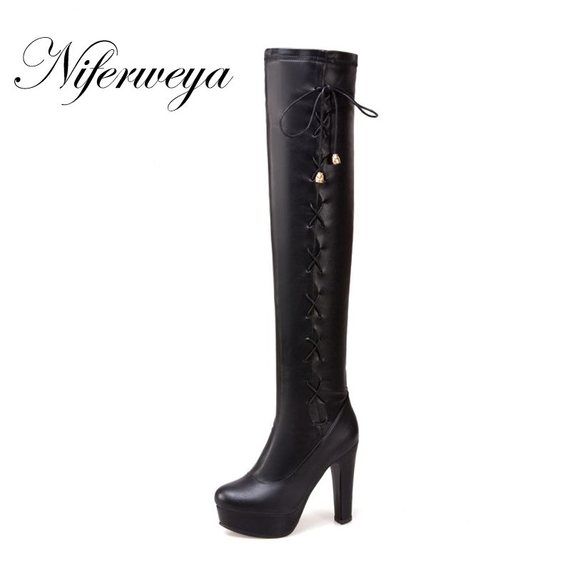 Sexy 12.5 cm Platform high heels big size 34-50 winter women shoes fashion Round Toe Over-the-Knee boots zapatos mujer 3339 enmayer sexy red shoes woman high heels bowties charms size 34 47 zippers round toe winter over the knee boots platform shoes page 4