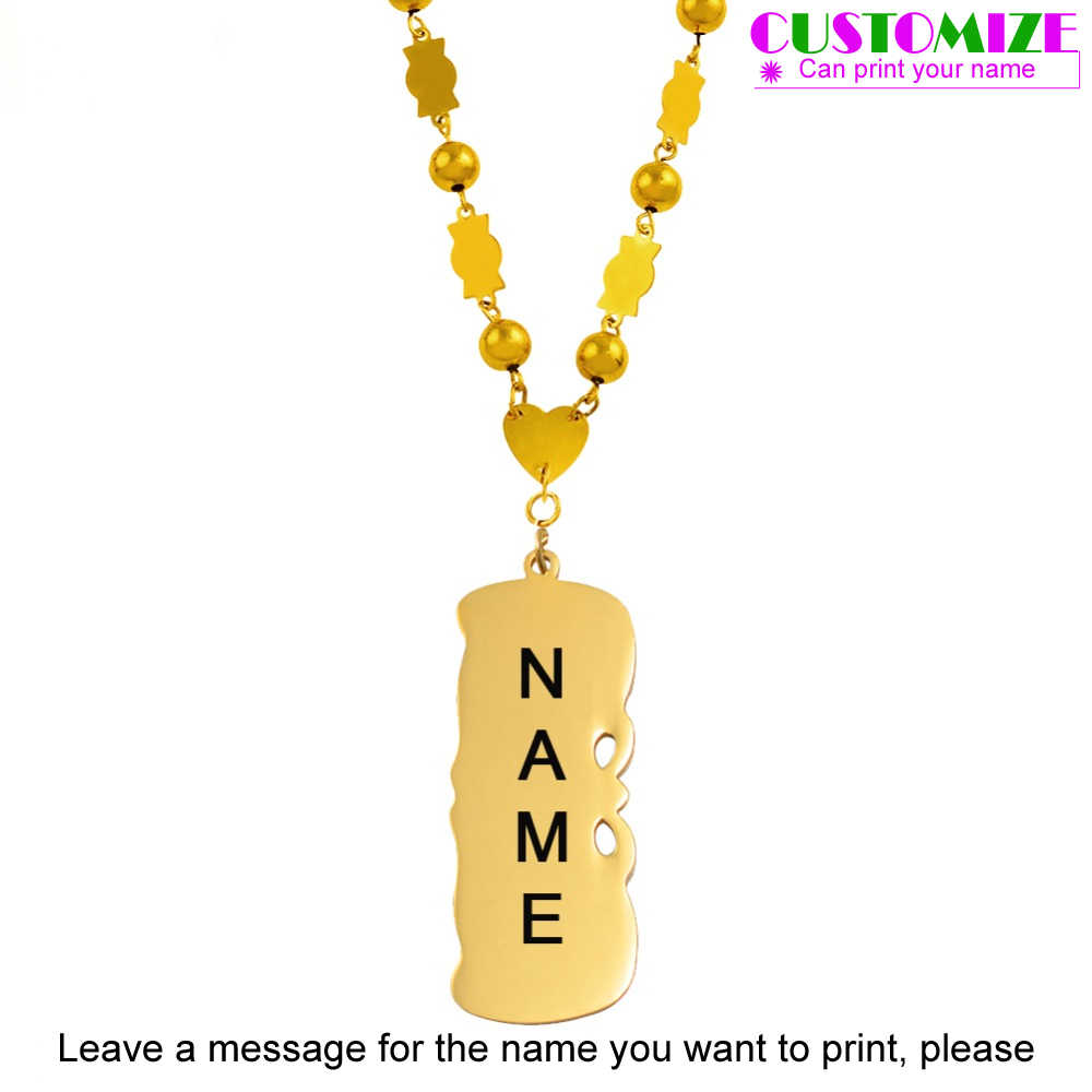 Anniyo Personalized BLACK NAME Small Beads Chain Necklace Women Girls Marshall Jewelry Micronesia Customize Letters Name #069121